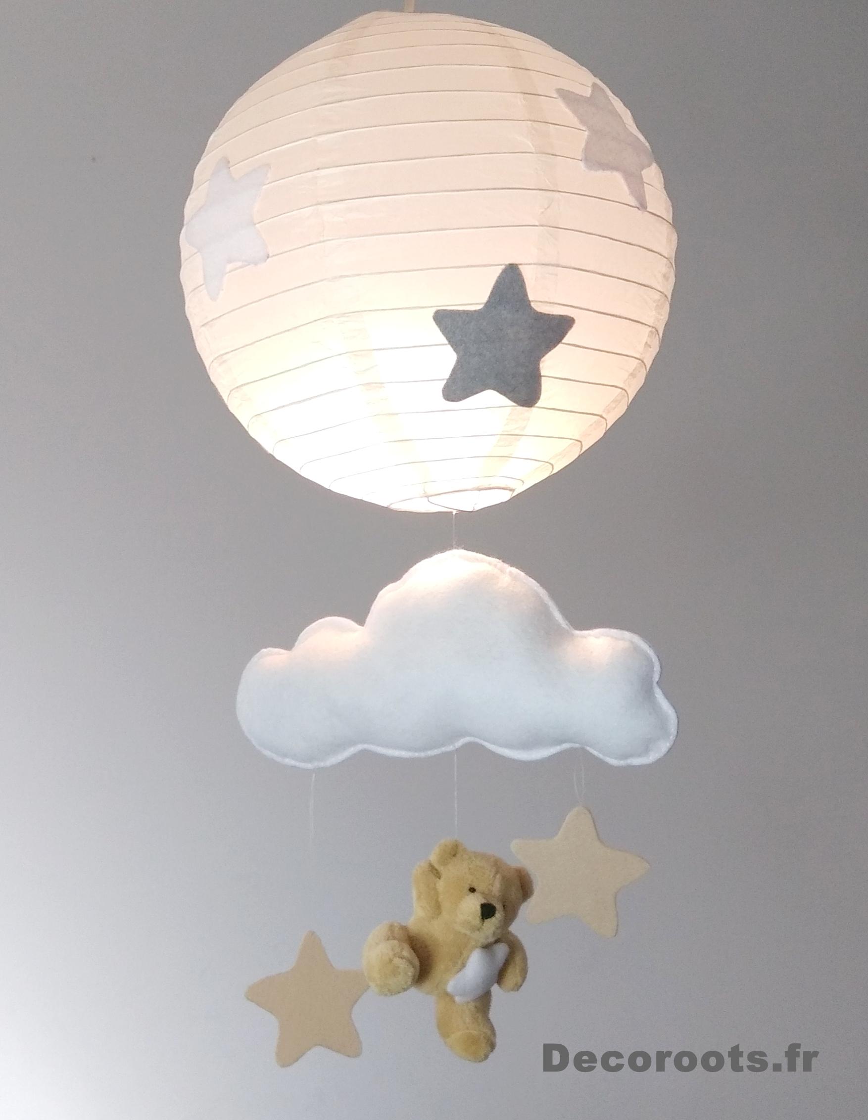 lustre suspension ours et nuage beige gris blanc mixte