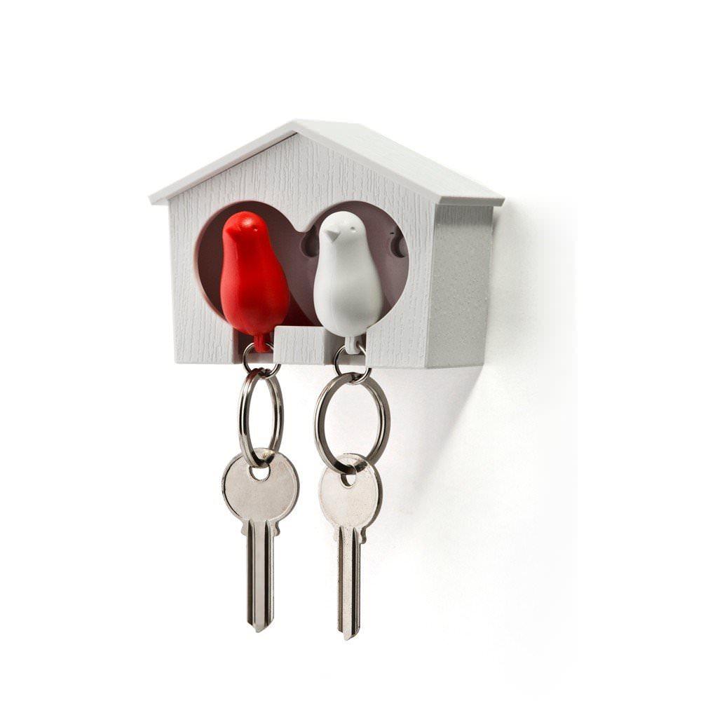 Maison accroche clés mural Oiseaux - Duo Rouge et Blanc  Qualy Design : 19,90€