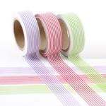 Masking tape Rayure Violet, rose et vert - Lot de 3