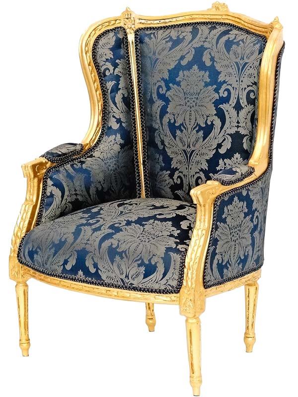 fauteuil style louis xvi en hetre dore et tissu bleu turgot