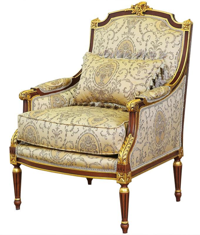 bergere style louis xvi en bois dore et tissu beige chambord