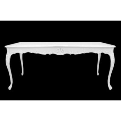 table salle a manger baroque en hetre blanc 200x100cm oslo