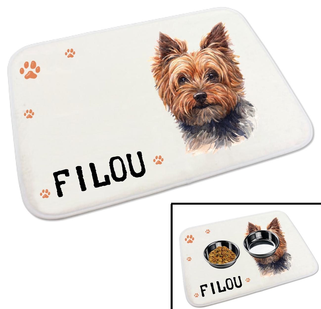 tapis gamelle pour chien yorkshire personnalise avec le nom de votre animal