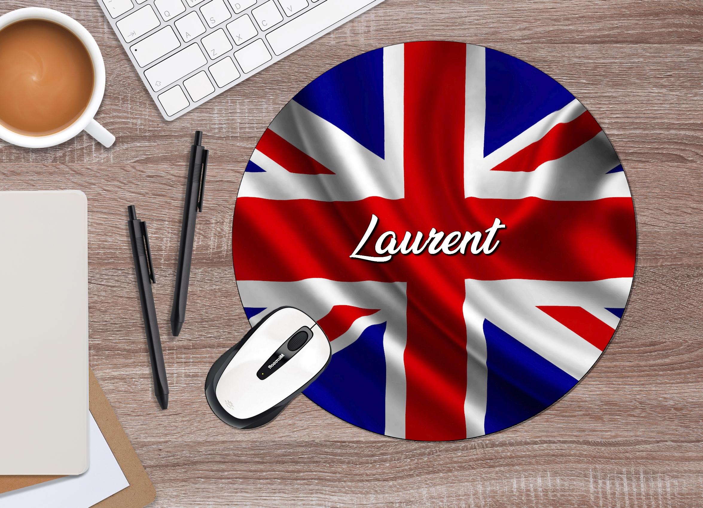 tapis de souris rond drapeau anglais personnalise avec prenom