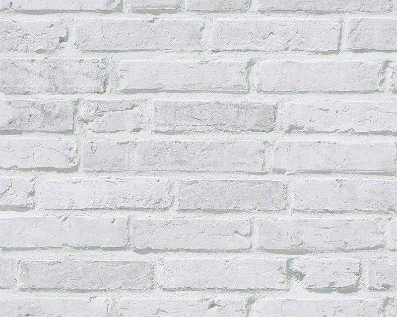 papier peint intisse brique gris clair
