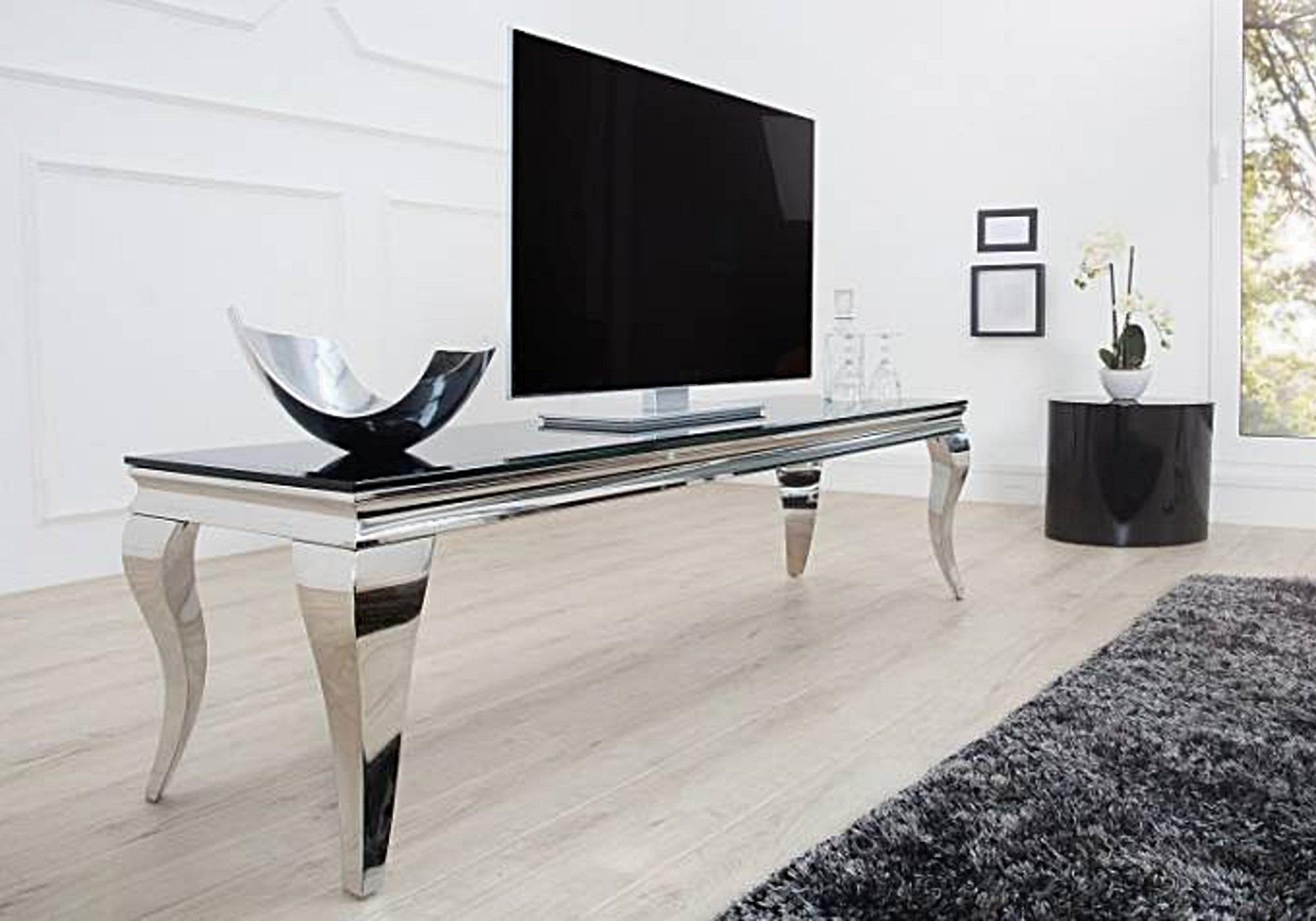 meuble tv chrome verre noir neo