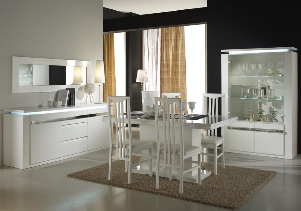 Salle A Manger Laque Blanc Riva Meuble Sejour Design Pas Cher