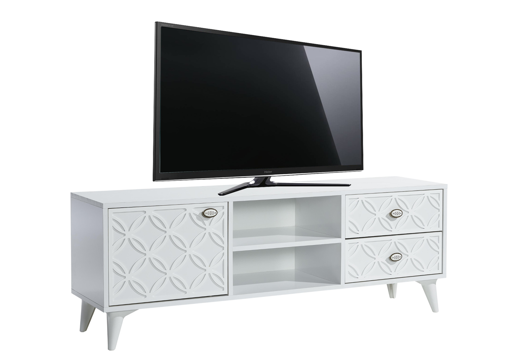 meuble tv haut decor blanc flix