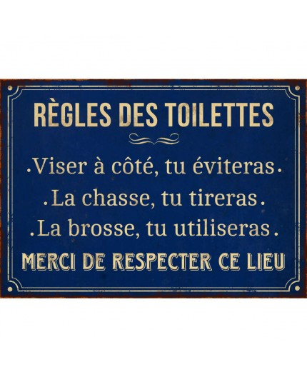 plaque metal vintage regles des toilettes