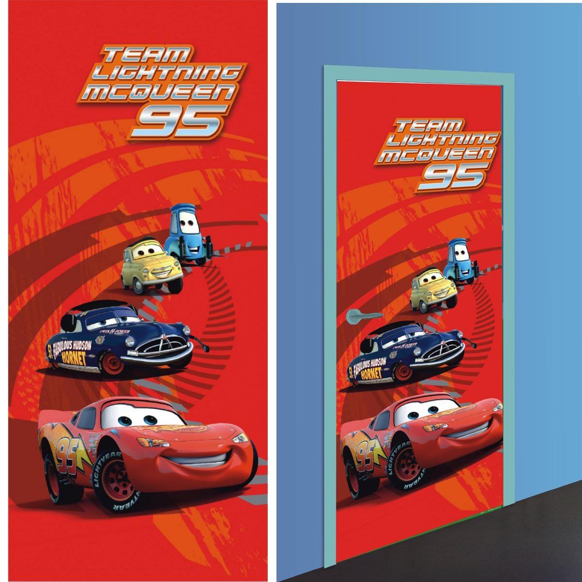 disney cars 2 decoration murale poster de porte papier peint 202x90 cm