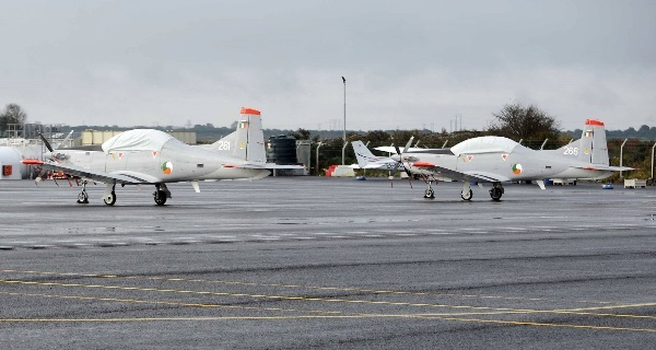 Two Irish Air Corps Pilatus PC-9 planes at Galway Airport.