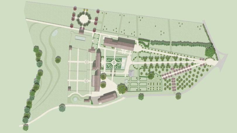Le plan des jardins du Montperthuis et du Manoir de la Pillardière créé par Philippe Dubreuil