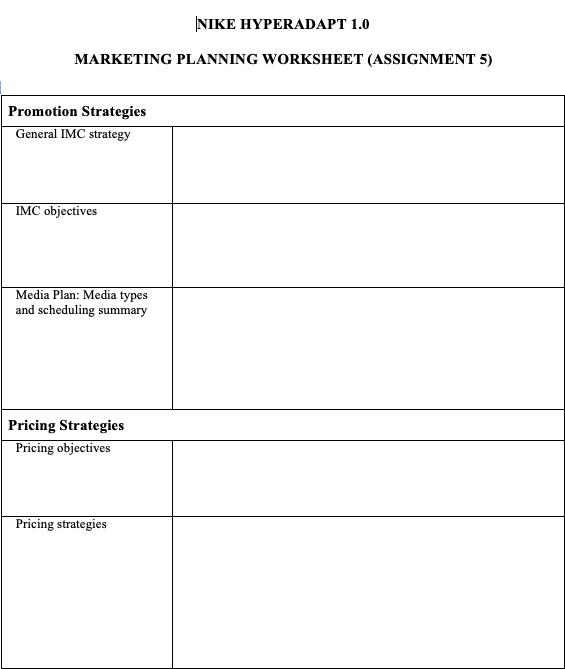 Solved Nike Hyperadapt 1 0 Marketing Planning Worksheet