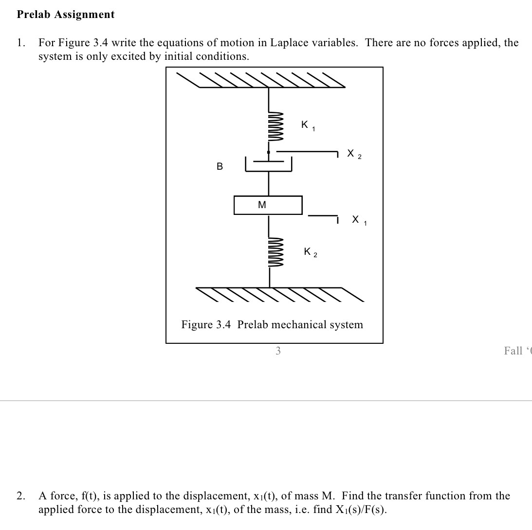 1 For Figure 3 4 Write The Equations Of Motion