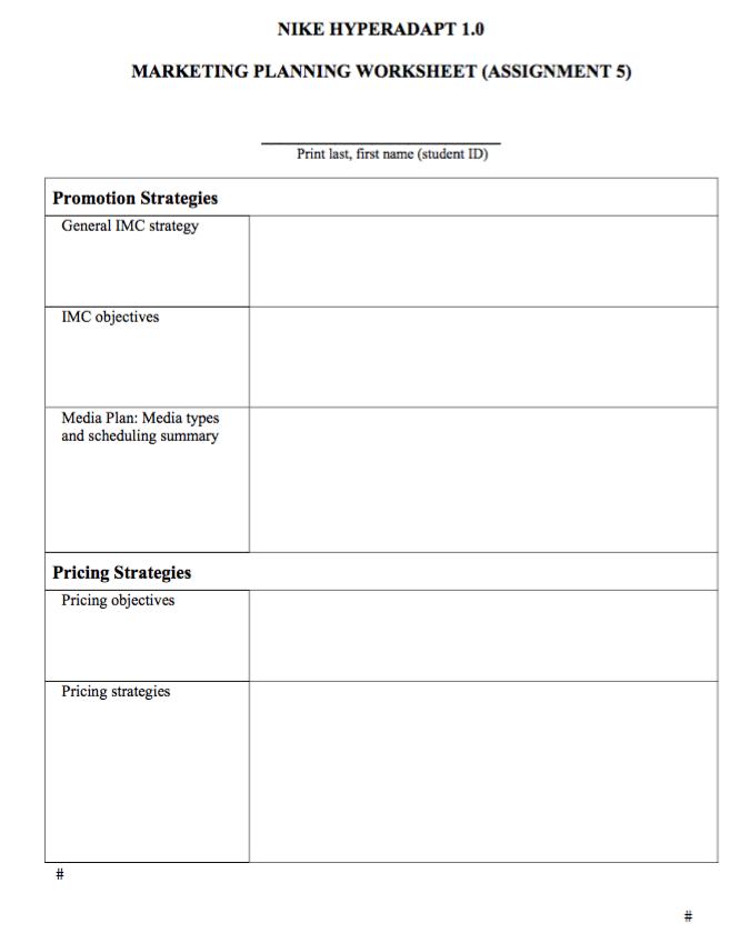 Nike Hyperadapt 1 0 Marketing Planning Worksheet