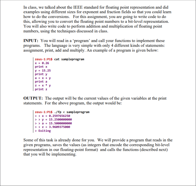 In class, we talked about the IEEE standard for floating point representation and did examples using different sizes for expo