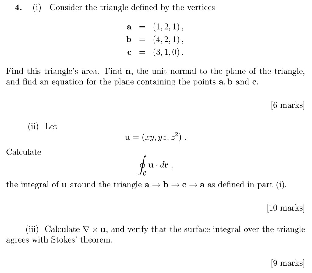 Solved 4 I Consider The Triangle Defined By The Vertic