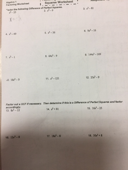 Solved  Algebra 1 Factoring Worksheot I  Squares Worksheet     Algebra 1 Factoring Worksheot I  Squares Worksheet Facfor the following  Difference of Perfect Squares