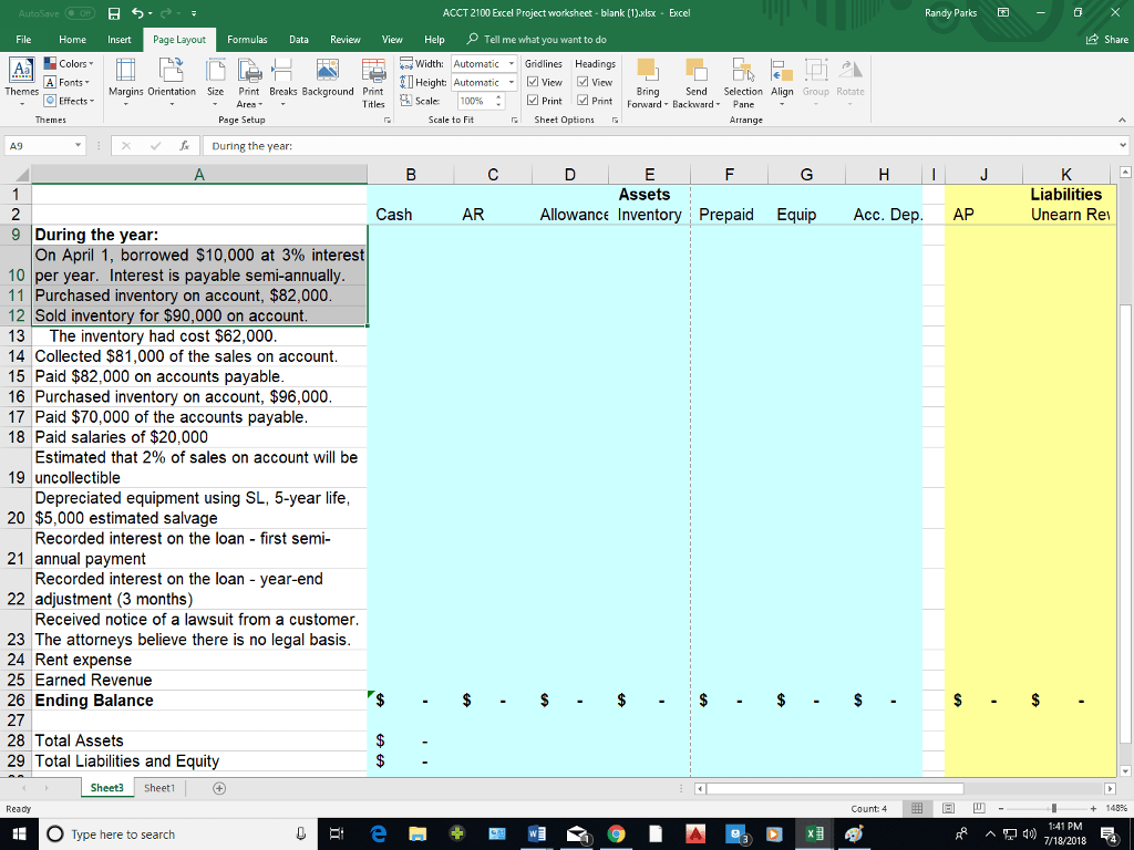 Solved We Are Asked To Fill In The Excel Spreadsheet And