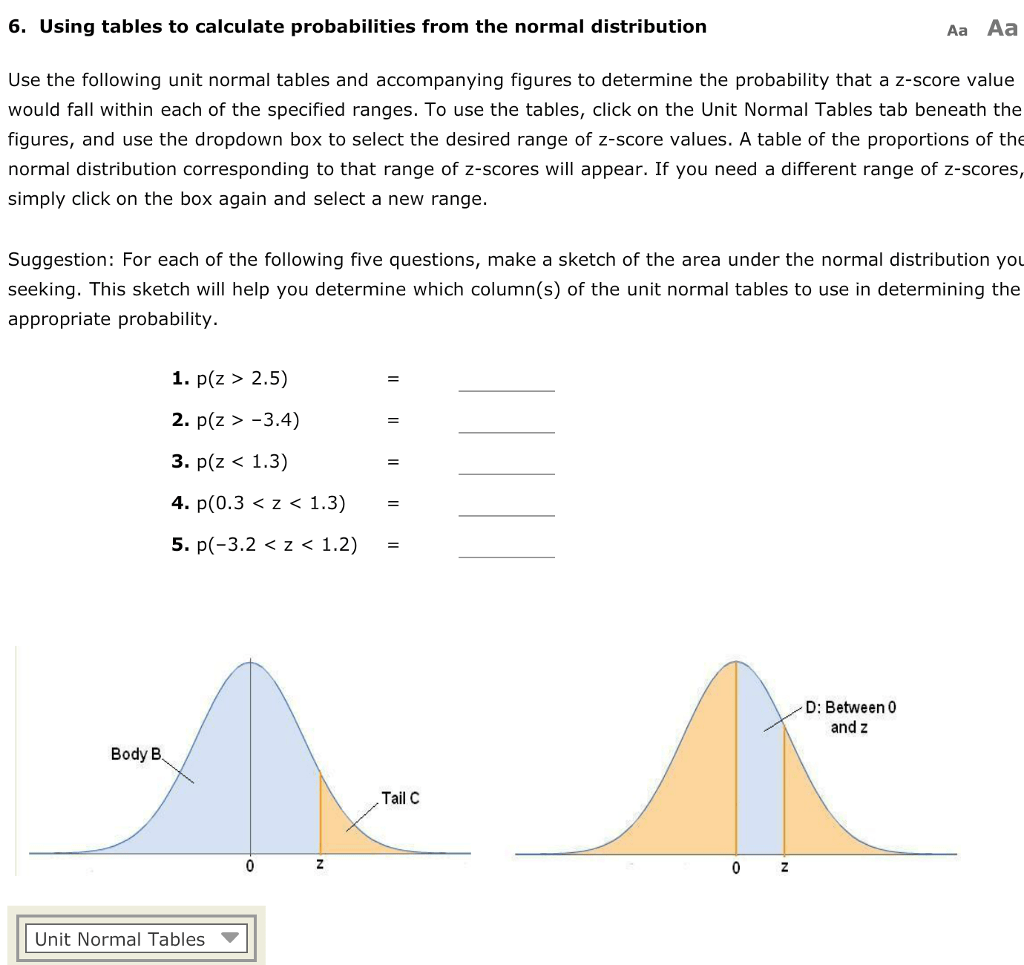 Solved 6 Using Tables To Calculate Probabilities From Th