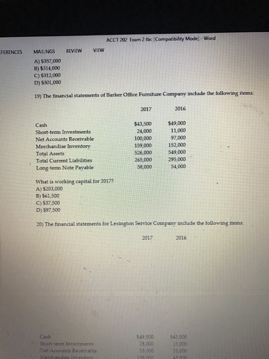 Solved The Financial Statements Of Barker Office Furnitur
