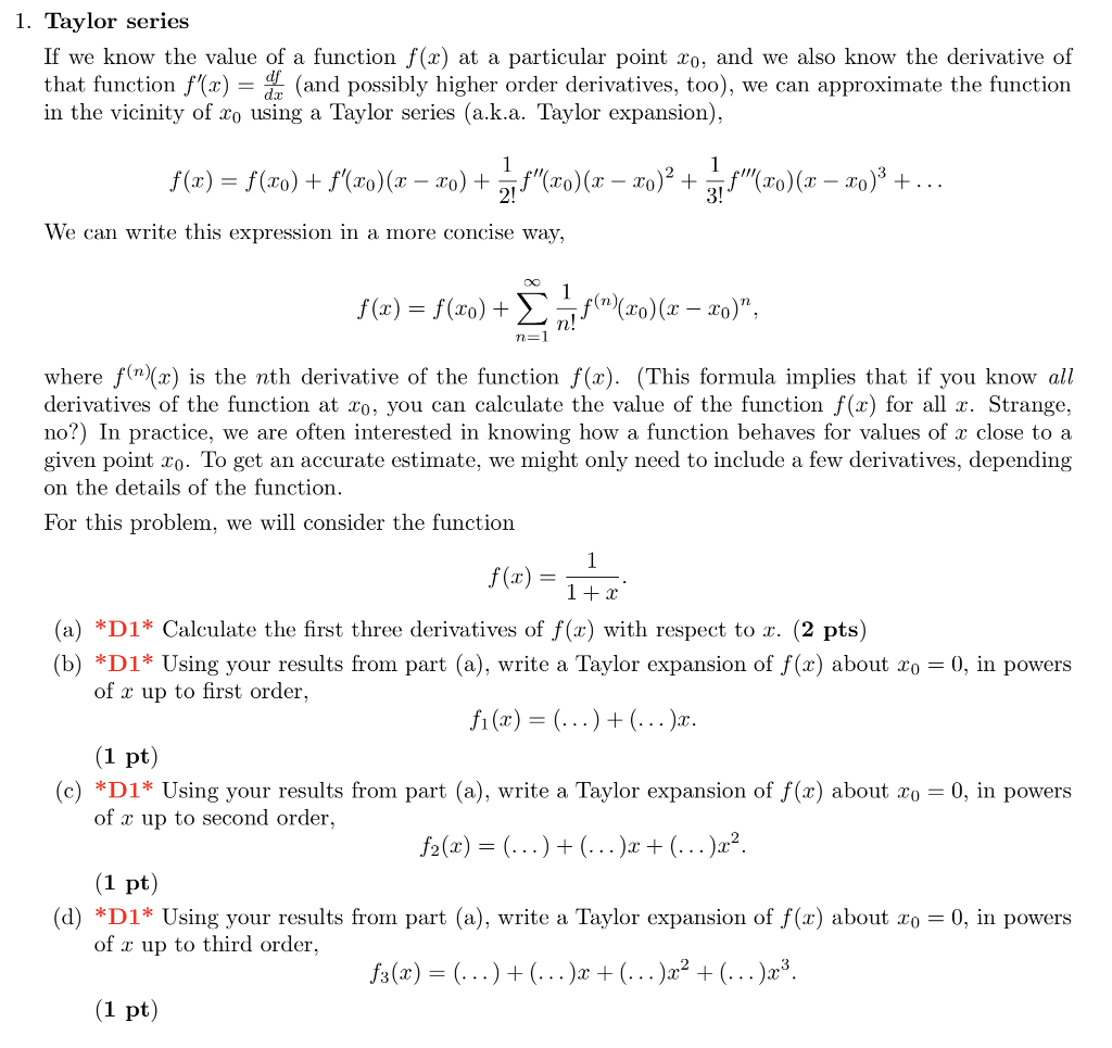 Solved 1 Taylor Serie If We Know The Value Of A Function