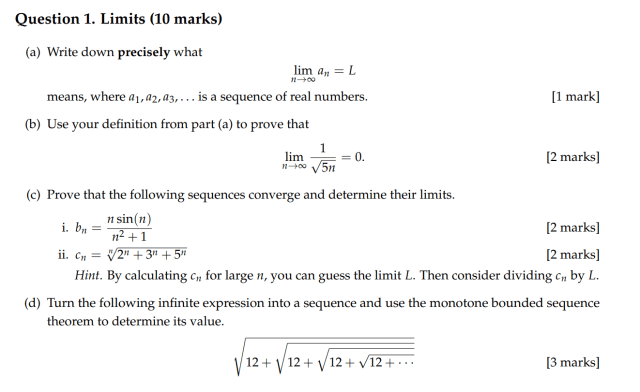 Solved Question 17. Limits (170 marks) (a) Write down  Chegg.com