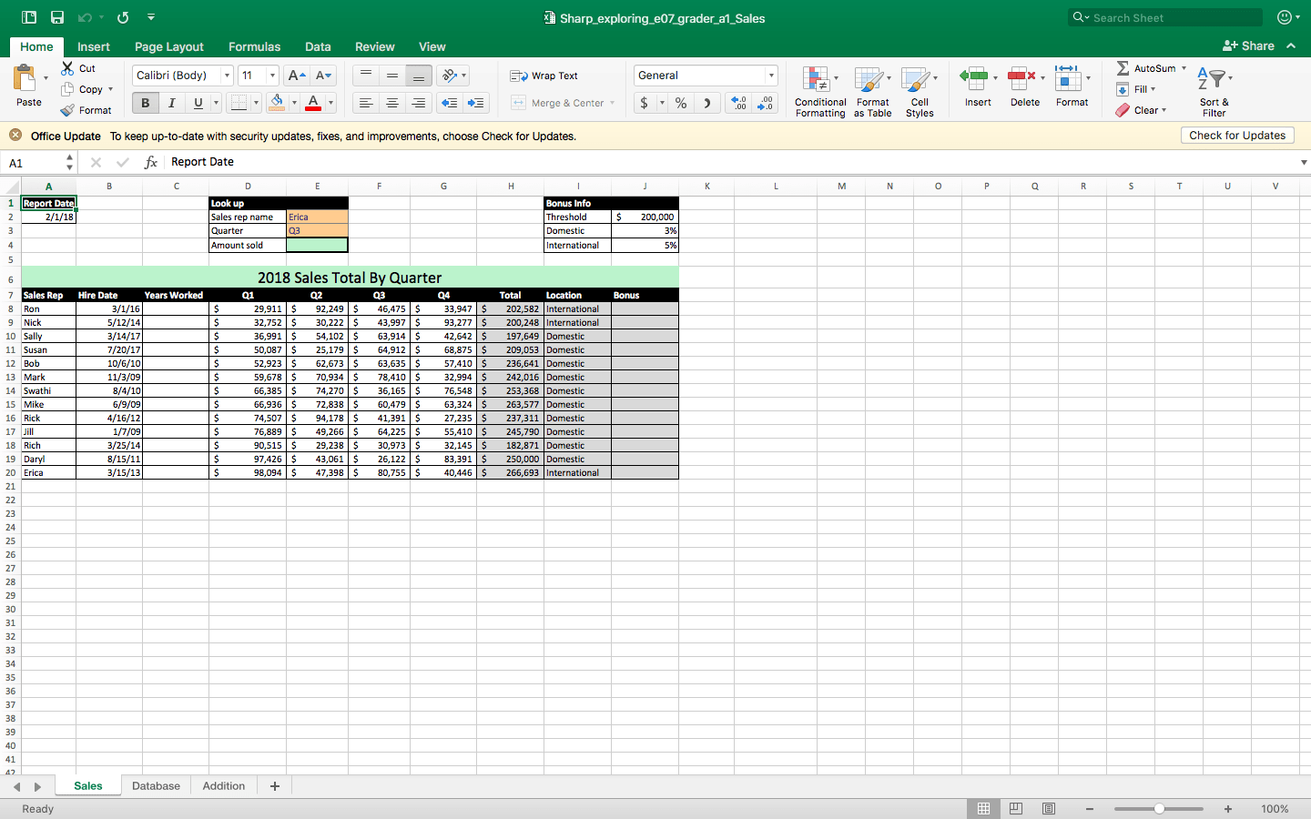 2 On The Sales Worksheet Enter A Date Function In