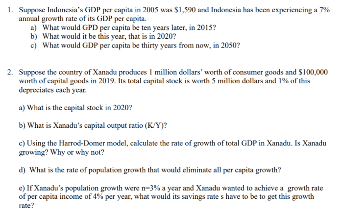 Solved 1 Suppose Indonesia S Gdp Per Capita In 2005 Was Chegg Com