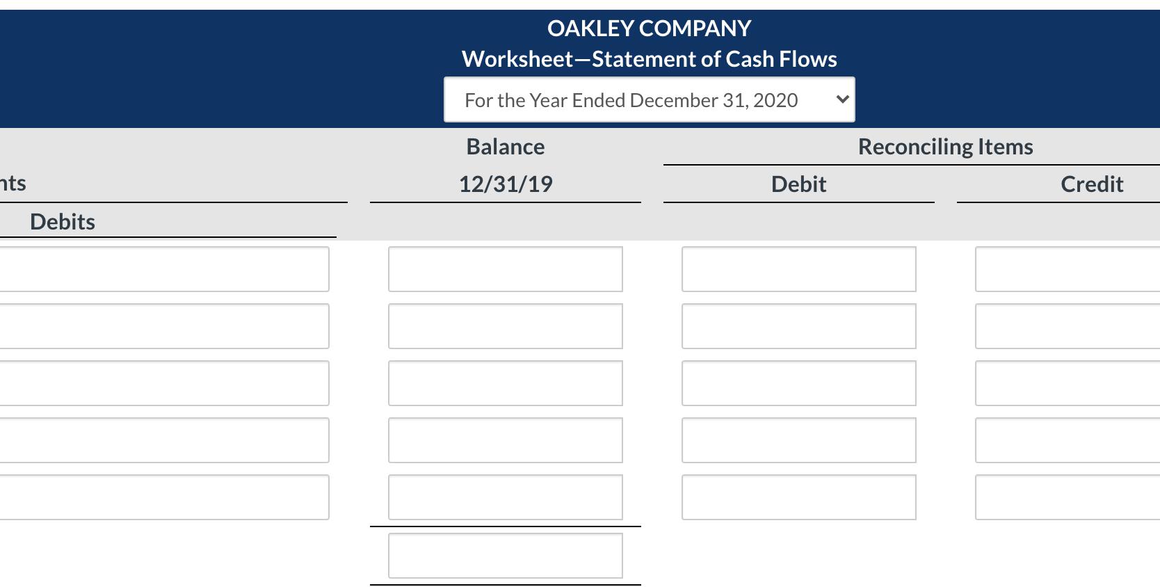 Solved Oakley Company Worksheet Statement Of Cash Flows F