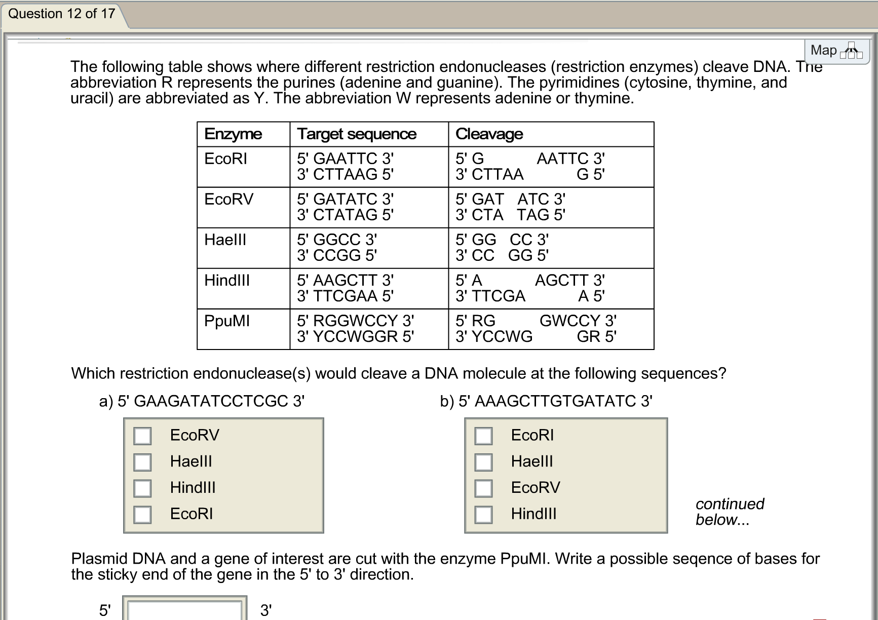 The Following Table Shows Where Different Restriction