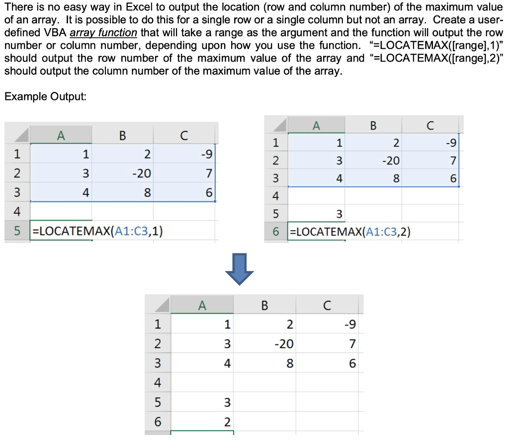Solved There Is No Easy Way In Excel To Output The Locati
