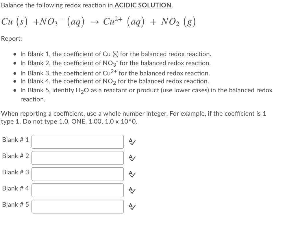 Solved Balance The Following Redox Reaction In Acidic Sol