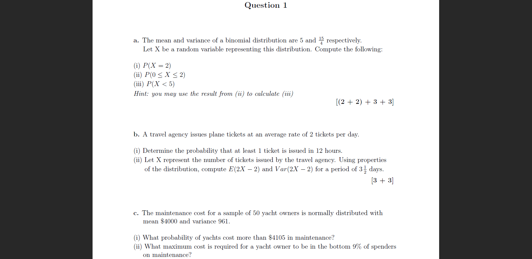 Solved Question 1 A The Mean And Variance Of A Binomial