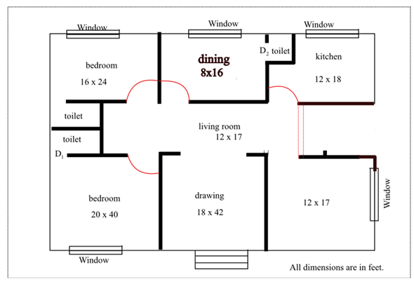 solved sketch a simple two bedroom