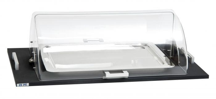 plateau refrigere avec cloche rectangulaire noir bois 93 cm tactus zepe