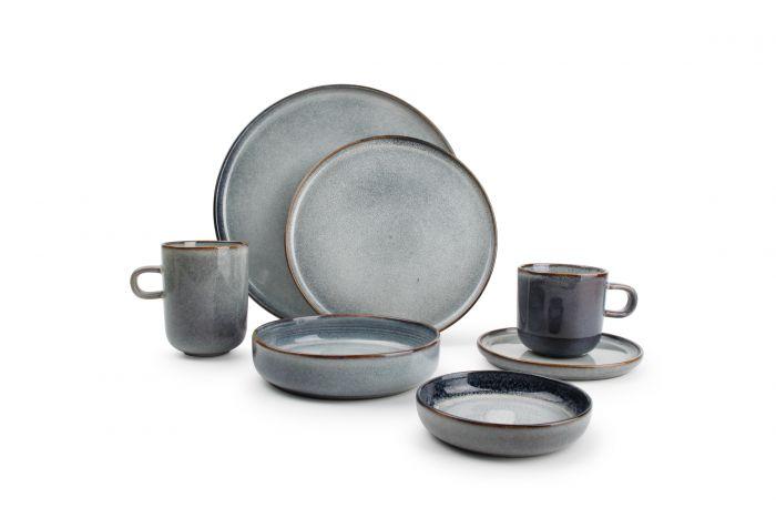 assiette plate ronde bleue gres o 27 cm duna