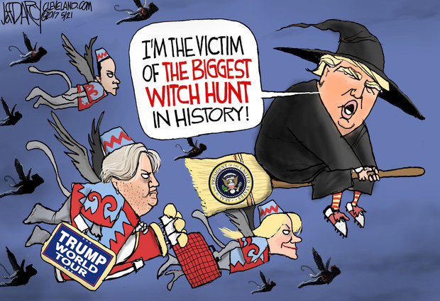 "Before flying off on his foreign trip, President Donald Trump responded to the naming of a special prosecutor to investigate collusion between the Trump campaign and Russia, as ""the single greatest witch hunt of a politician in American history!"""