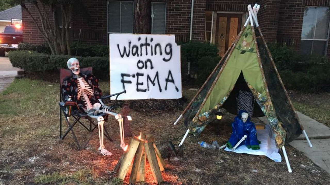 Harvey Victims Halloween Display Shows Dark Humor After