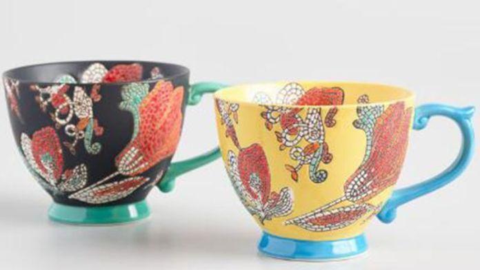 Hand Painted Mosaic Mugs Set Of 2