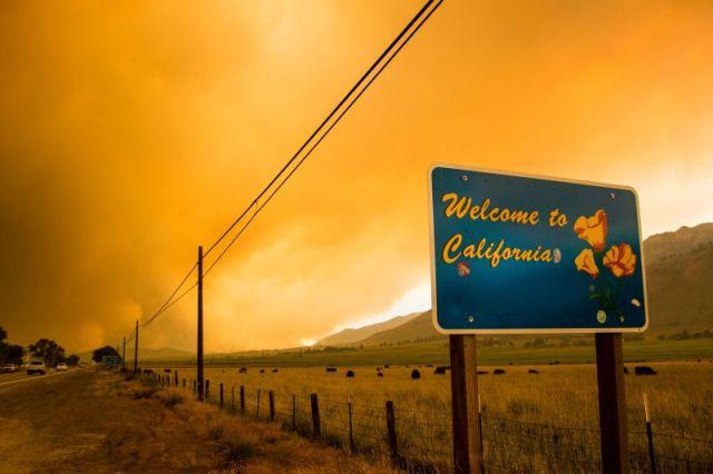 The Tamarack Fire burns in Markleeville, near the California-Nevada border, on July 17.