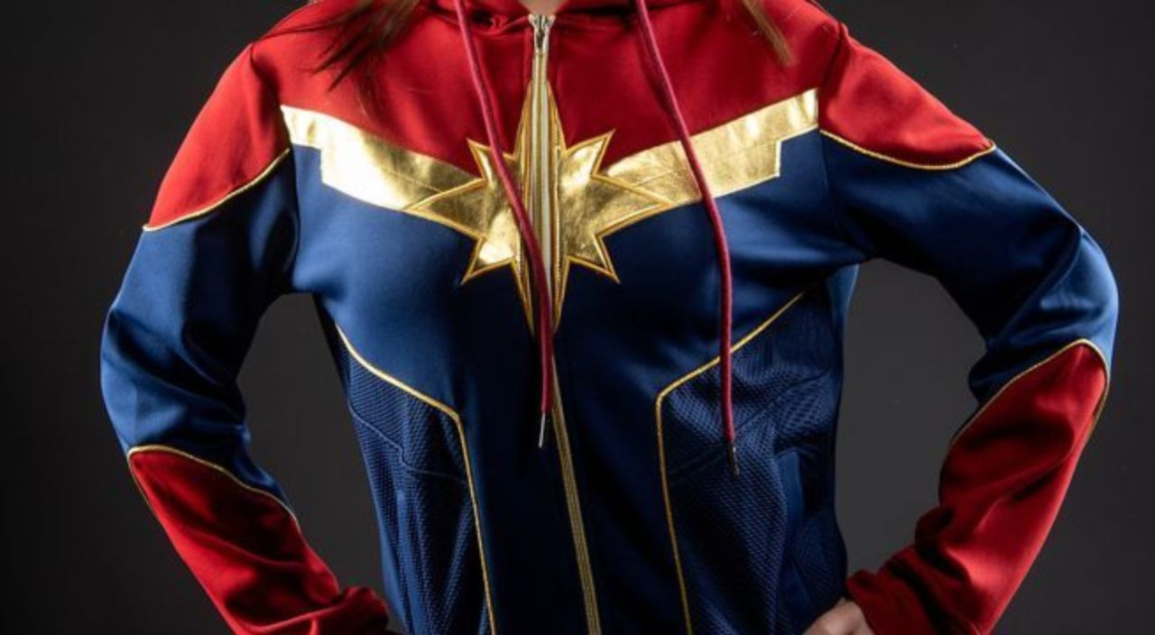 the official 'captain marvel' hoodie: higher, further, faster, warmer