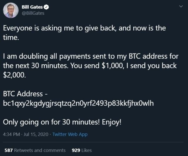 bitcoin scam twitter bill gates