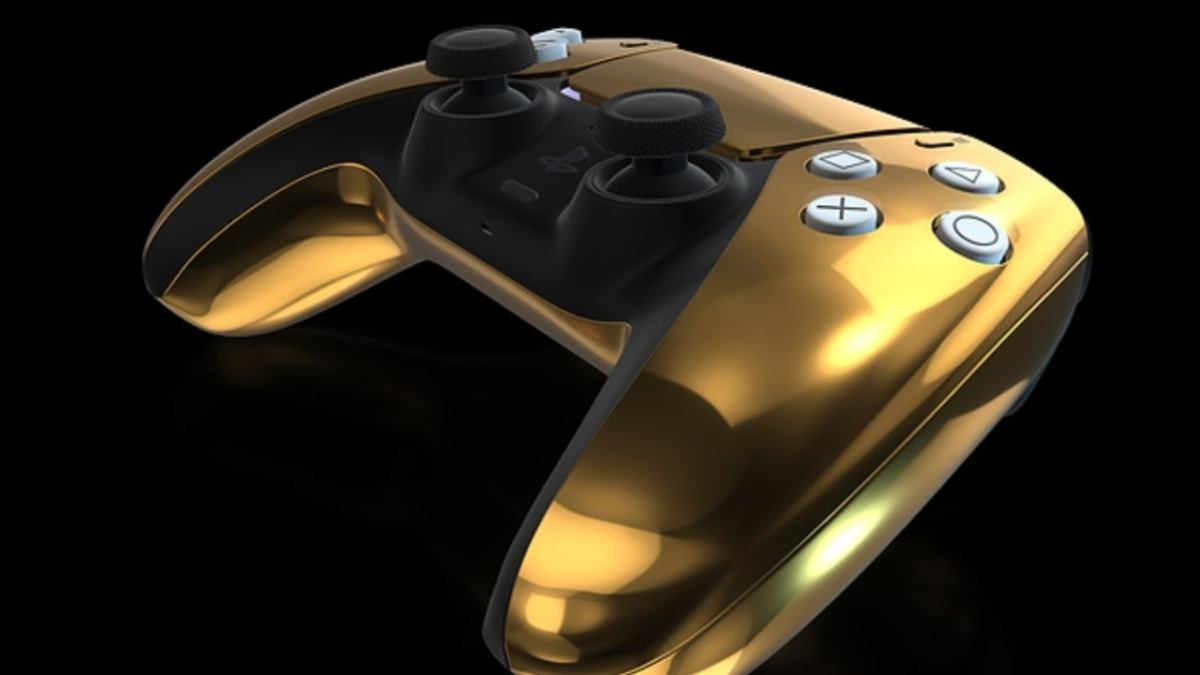 How do the PS5 Console and DualSense controller look with 24k gold cover?