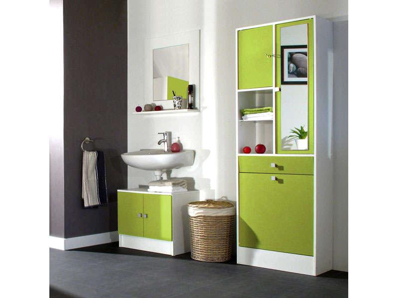 meuble sous lavabo miroir lingere wave coloris vert vente de meuble et rangement conforama