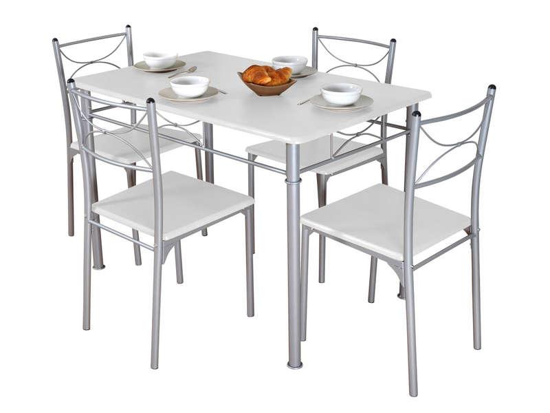 Ensemble Table Rectangulaire 4 Chaises TUTI Coloris