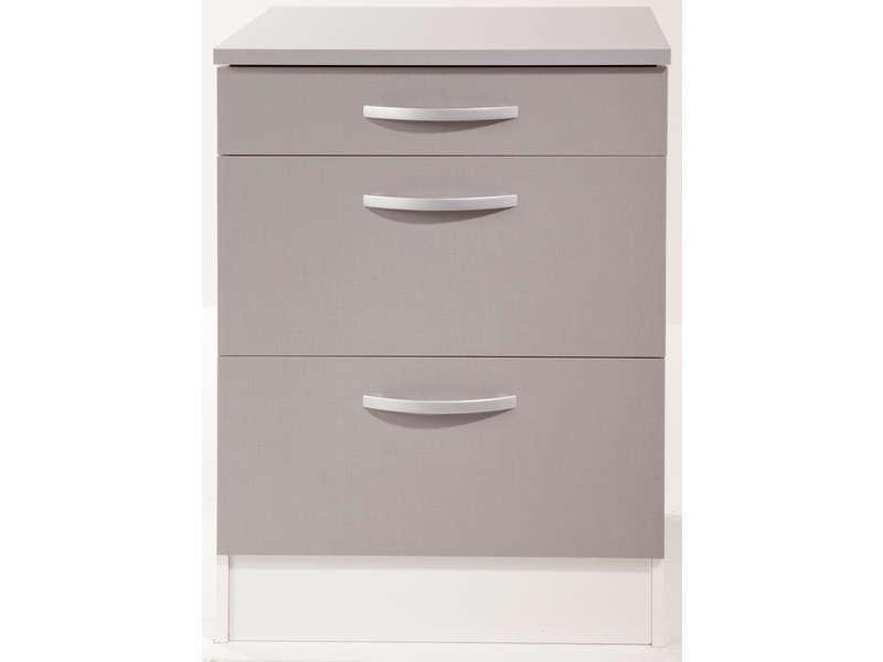 meuble bas 60 cm 1 tiroir 2 caissons spoon color coloris gris vente de meuble bas conforama