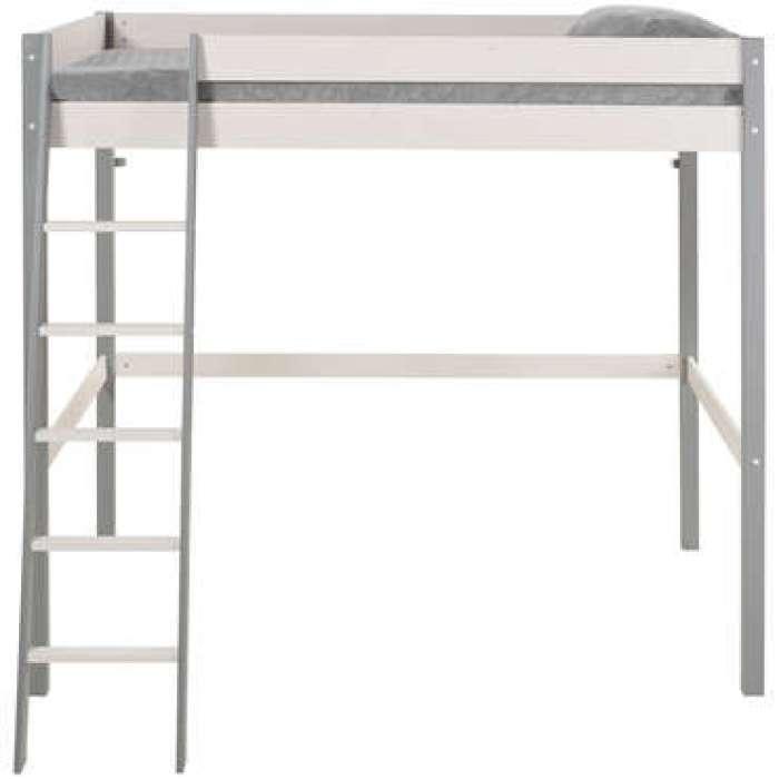 Lit mezzanine 140x200 cm SWAN coloris blanc et gris