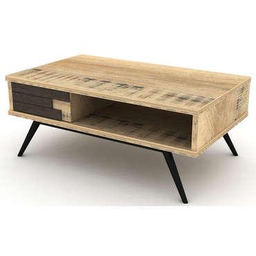 Table Basse Rectangulaire Ethnica Coloris Gris Noir Pieds En M Tal Vente De Table Basse Conforama