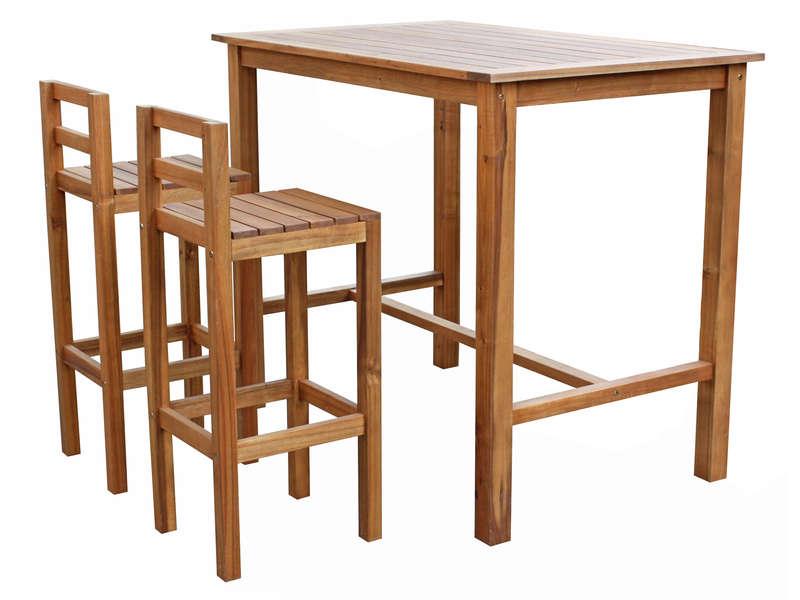 Ensemble Table Haute 2 Chaises De Jardin En Acacia Massif Vente De Ensemble Table Et Chaise
